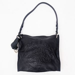 Brighton Embossed Leather Tassel Purse Tote Black